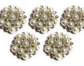 Pearl and Rhinestone Buttons, metal - Pearl Rhinestones - 26mm - set of  FIVE -White and Clear