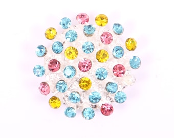 Metal Rhinestone Buttons - 3D button - 30mm - set of  FIVE - Pink Turquoise and Yellow