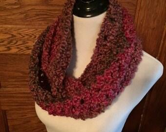Crochet Cowl - Hot Pink & Brown variegated