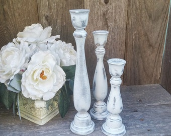 Set of 3 SHABBY CHIC True White Chippy Candle Holders