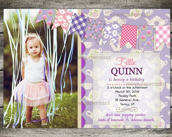 Tea Party Birthday Party Invitation Card - Pink & Purple - Photo Card
