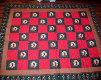 Vintage Hand Quilted Doll Quilt or Wall Hanging Christmas Theme