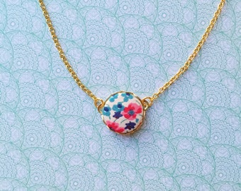 Fabric cabochon necklace