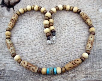 Mens tribal necklace, turquoise, vintage carved bone and dyed bone beads, handmade from natural materials, on strong cord with lobster clasp