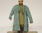 ANTIQUE TRIBAL DOLL (1930s) - Man From Afghanistan - Handmade Cloth Doll with Embroidered Clothing & Cap, Leather Boots