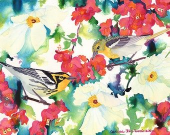 Warblers Watercolor Print, Birds and Poppies Painting, Colorful Flower Giclee Print, Carissa Joie Luminess Watercolor