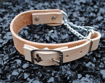 The Hornburg Collar: Natural Tan Heavy Duty Adjustable Leather Martingale Dog Collar