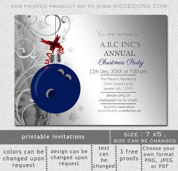 Printable Blue Silver Christmas Bowling Festive Holiday Party – Holiday Office Party Invitation Templates