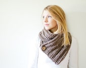 SUMMER SALE chunky crochet scarf ribbed button cowl scarf - taupe - the OXFORD
