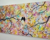 """48"""" Large Abstract Love Birds Acrylic Painting Tree Painting Modern Contemporary Romance Silhouette Over the Bed Couch 24x48 JMichael"""