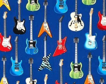 "Last 26"" REMNANT - Robert Kaufman - In Tune - Electric Guitars - Blue - Novelty Music Fabric"