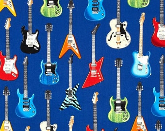 Robert Kaufman - In Tune - Electric Guitars - Blue - Novelty Music Fabric - Choose Your Cut 1/2 or Full Yard