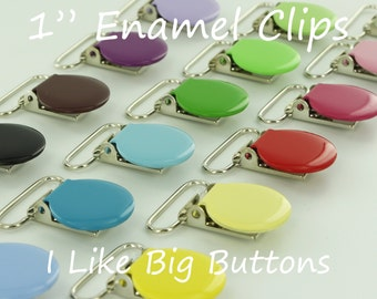 100 Enamel Clips 1 INCH Round Metal Pacifier Clips / Suspender Clips / Paci/Dummy/Bib / Toy Holder Clips