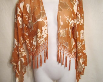 Silky Tangerine Cropped Floral Open Top with Tassels