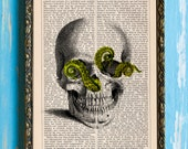 Skull Series - Tentacle Ridden Lovecraftian Original Print on an Unframed Upcycled Bookpage