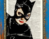 Blue Eyes Catwoman Original Pop Art by Prudence Print on Unframed Upcycled Bookpage