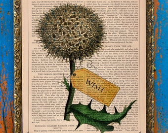 Make A Wish Original Collage Botanical Print on an Antique Upcycled Bookpage