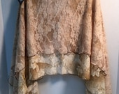 Two Layer Cream and Brown Floral Lace Skirt - XLarge