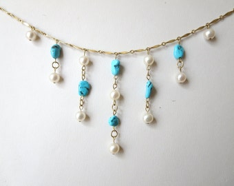 Arizona Untreated Turquoise, Fresh Water High Grade Pearl and Gold Necklace