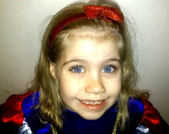 Snow White's Headband - NB thru Adult, Red Bow Headband, Snow White Costume,