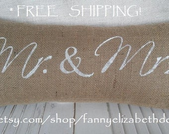 Lg.Burlap Mr and Mrs Pillow-FREE SHIPPING-Finished Pillows-Wedding Pillow-Burlap Wedding-Gift for Bride-Burlap Pillows-Rustic Wedding-Rustic
