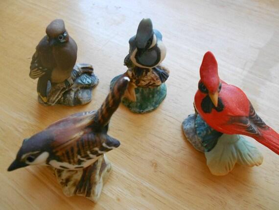 Vintage Bird Figurines. Cardinal. Bird Statues. Home Decor
