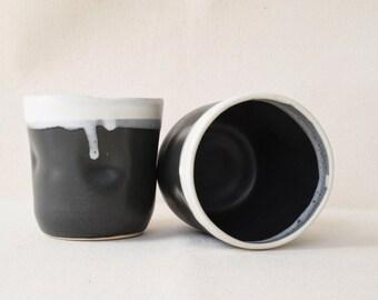 Satin Charcoal Gray Mugs/Mug/No Handles/Black Mug/Black Coffee Cup/Black Coffee Mug/Black Tea Cup/Ceramic Mug/Ceramic Cup (C36)