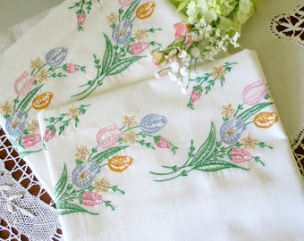 Vintage Pillowcases, Hand Embroidered Bedding, Pastel Colored Spring Tulips, Lightweight Cotton Blend, Vintage Linens by TheSweetBasilShoppe