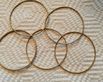 Bronze Wire Bangle Bracelets Handcrafted Soldered Textured Hammered