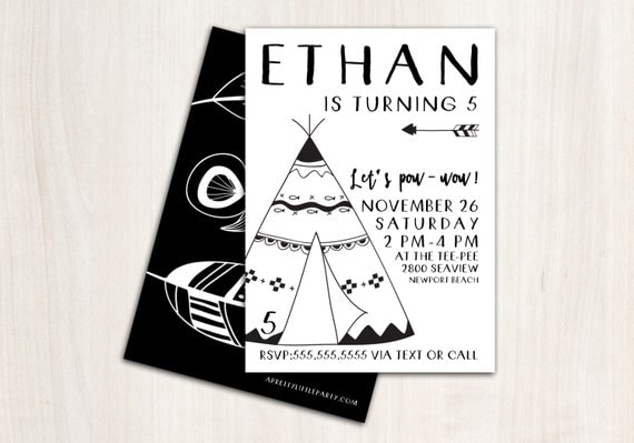 B&W Tee Pee Invite - Bohemian Hipster Tribal Birthday - Pow Wow Party Invitation