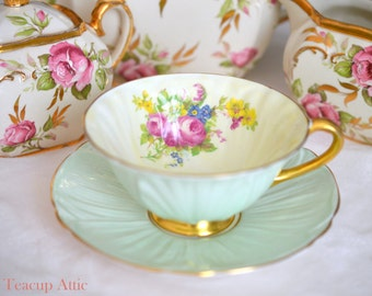 Shelley Pale Green Oleander Teacup and Saucer Set , English Bone China Tea Cup Set, Cabinet Tea Cup, Wedding Gift, ca.1945-1966