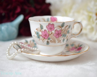 ON SALE Colclough Teacup and Saucer Set With Pink and Blue Flowers, Pattern 6620, English Bone China Tea Cup Set,  ca. 1939-1945