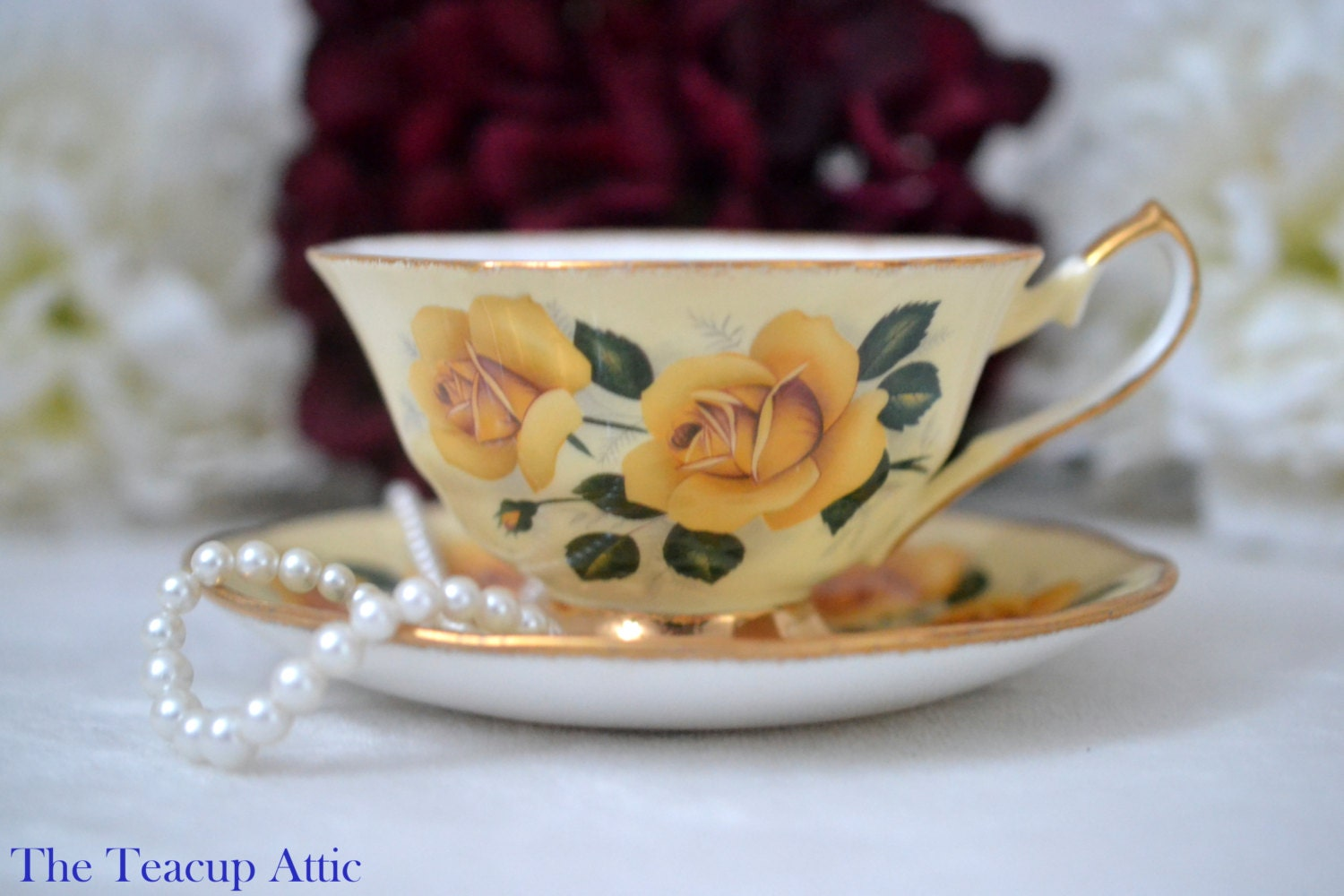 ON SALE Elizabethan Large Teacup and Saucer With Yellow Roses, English Bone China Tea Cup Set, Wedding Gift, ca 1960