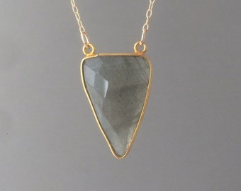 Double Connected Labradorite Triangle Necklace