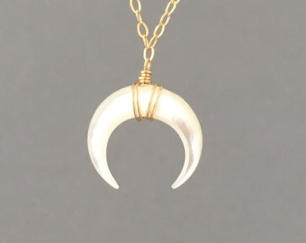 TINY White Mother of Pearl Double Horn Gold Necklace // Crescent Moon Sterling Silver Rose Gold