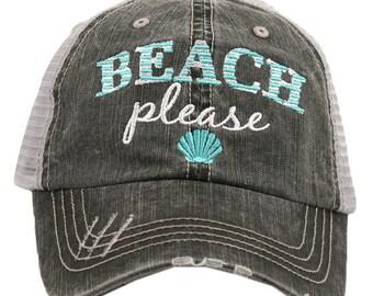 Beach Please Trucker Hat, Novelty Hat, Beach Hat,  Beach Fashion, Embroidered Novelty Hat, Ladies Hat, Womans Hat, distressed trucker hat