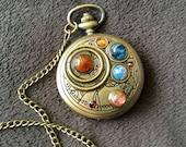 Doctor Who Gallifreyan Rassilon Style Battery Pocket Watch