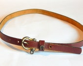 Vintage Genuine Leather Belt Thin Etienne Aigner Brown Belt Brass Buckle Size Medium