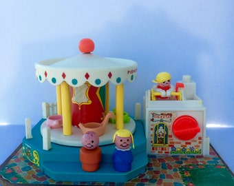 Vintage Fisher Price Merry Go Round With Little People 1970s Fisher Price Toy Working Fisher Price #111