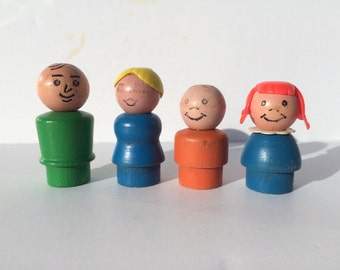Vintage Fisher Price Little People Family of Four Wood Head and Wood Bodies 1970s Fisher Price Little People Original Little People