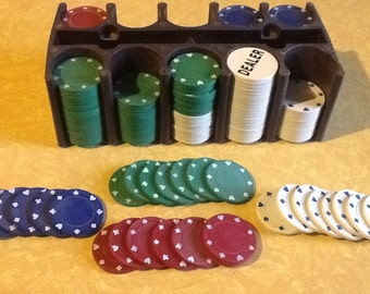 Poker Chips and Caddy Rack