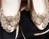 Gold Champagne Shoes Ballerina style Satin Lace Appliqué Crystals Pearls, Lace Up Ribbon Ballet Style Slipper, Comfortable Wedding Shoes