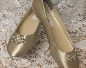 Flat Shoes Nude color with Brooch - Neutral color flats plus 200 colors,Non Slip White Satin Ballet style Slipper flats, Bling