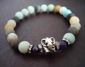 Women's Peace & Joy Mala Bracelet - Amethyst and Amazonite Elephant Mala Bracelet - Yoga, Buddhist, Meditation, Jewelry