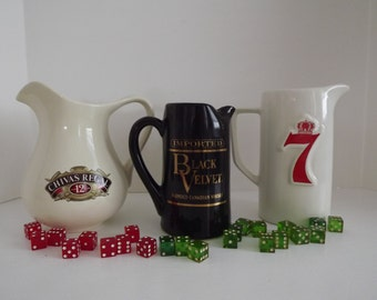 Retro Set Of Three, Promotional Black Velvet, Seagram's 7 & Chivas Regal Ceramic Whiskey, Water Pitchers, Bar Decor, Man Cave, Circa 1970's