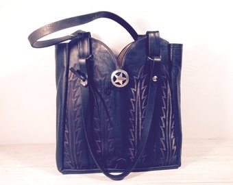 Cowboy Boot Purse, Large Double Boot Bag, Black Leather Laramie with Lots of Interior Pockets.