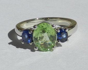 Natural 2.02 Carat Tsavorite Garnet & Ceylon Sapphire 3 Stone Ring 14kt White Gold