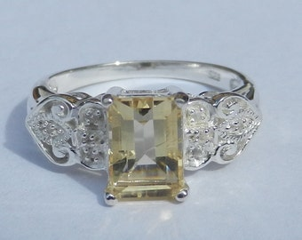 Natural 1.60 Carat Citrine & White Sapphire Ring set in Solid 925 Sterling Silver