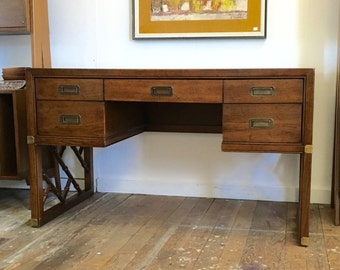 Campaign Desk by Sligh faux bamboo with brass pulls Hollywood Regency Executive Desk
