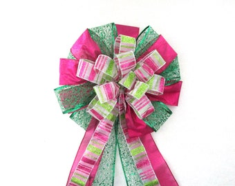 Pink and Green Bow, Christmas Bow,  Tree Topper Bow / Christmas Tree Bow